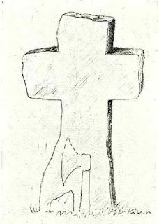 Rysunek Paul Kutzer, krzyż Damianowice, pojednania, pokutny