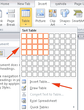 Insert Tabel di Microsoft Excel