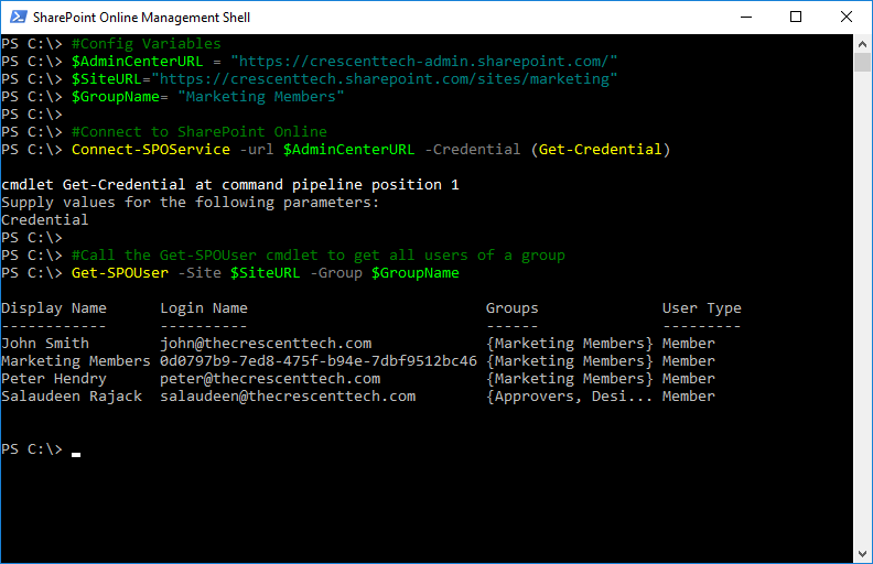 sharepoint online powershell get group members