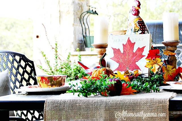 burlap-runner-fall-bowls-rooster-redbirds-pumpkins-maple leaf print-darren gygi-giveaway