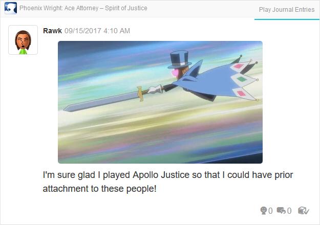 Phoenix Wright Ace Attorney Spirit of Justice Mr. Hat love sword