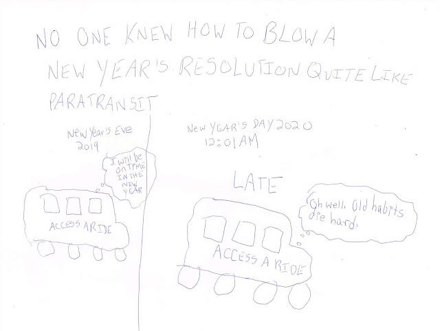 "A split image of 2 paratransit buses. One says ""New Year's Eve 2019"" with the declaration I will be on time in the New Year. The other says ""New Year's Day 2020"" with the heading Late"