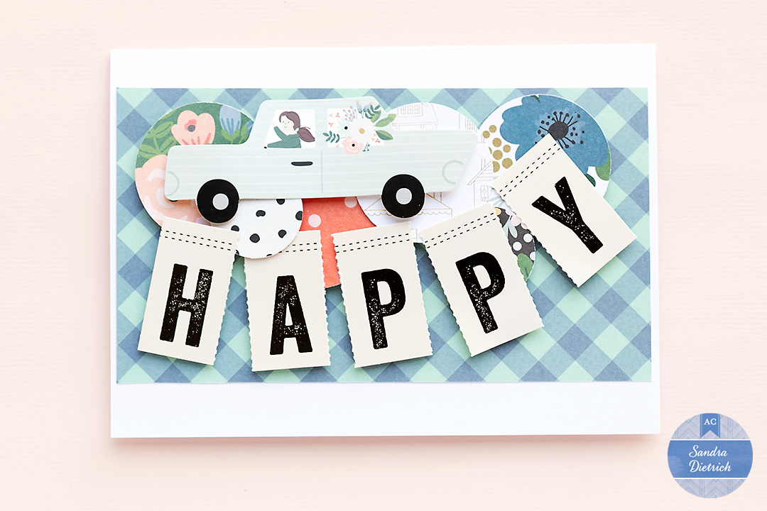 Card saying Happy created with scrapbook supplies