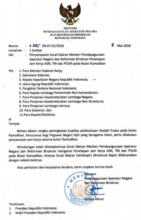 Jadwal Kerja PNS Bulan Ramadhan 2018