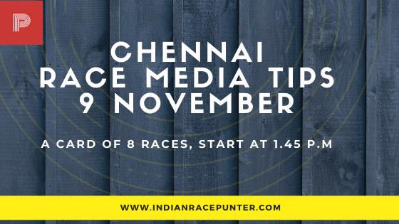 Chennai  Race Media Tips, indiarace,  free indian horse racing tips