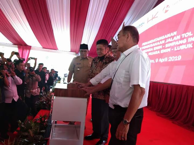 Pembangunan Jalan Tol Muara Enim, Indralaya dan Lubuk Linggau Ditanda Tangani