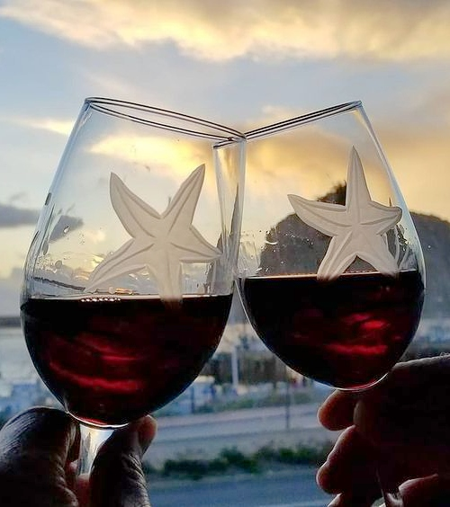 Starfish Etched Wine Glasses Glassware Coastal