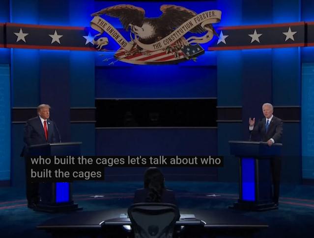 Who built the cages Donald Trump Joe Biden presidential debate 2020 immigration