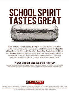 FHS swim fundraiser today at Chipotle