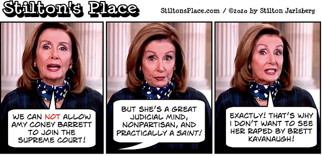 stilton's place, stilton, political, humor, conservative, cartoons, jokes, hope n' change, pelosi, barrett, supreme court, trump, ginsburg