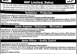 ITI, Diploma & B.Sc/ M.Sc Chemistry Candidates Job Vacancy For SRF Limited, Dahej, Gujarat  Walk In Interview On 26th December 2020