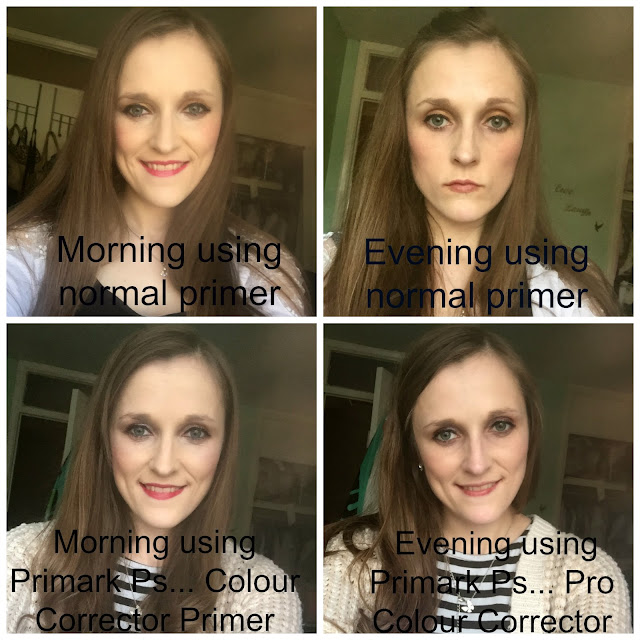 before and after using primark ps... pro colour corrector primer