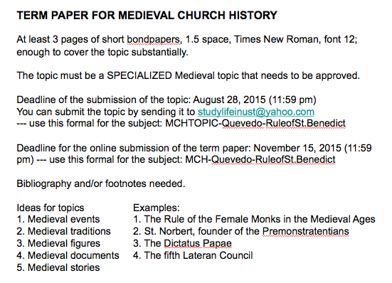 Church history term papers