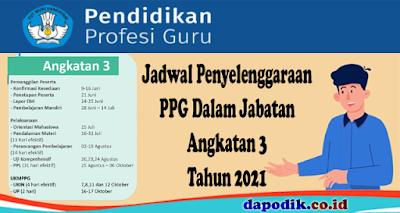 Jadwal Penyelenggaraan PPG Dalam Jabatan Angkatan 3