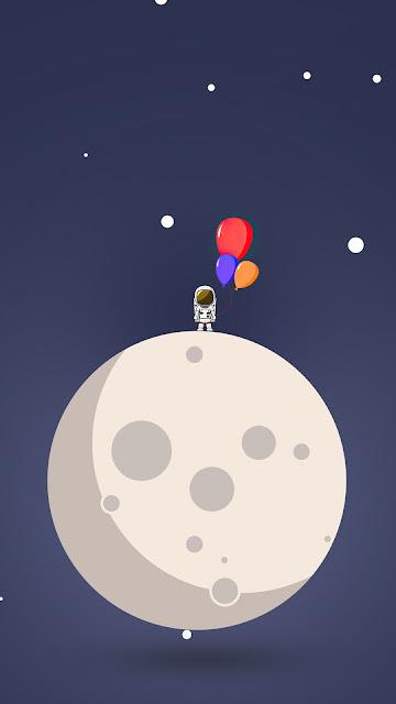 HD Astronaut Balloon Moon Minimal Wallpaper