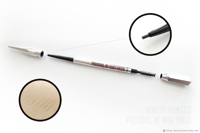 Benefit Cosmetics Precisely, My Brow Pencil. Shade 4 Cool - Medium to Dark Brown Review Swatch.
