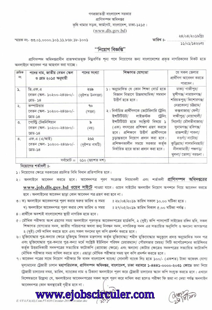 Department of Livestock Services Offer Job circular 2019