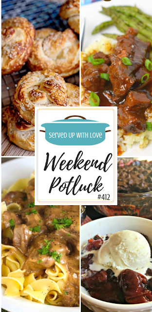Weekend Potluck featured recipes include Crock Pot Mongolian Beef, Biscuit Pretzels, Company Beef, Black Forest Cobbler, and so much more.