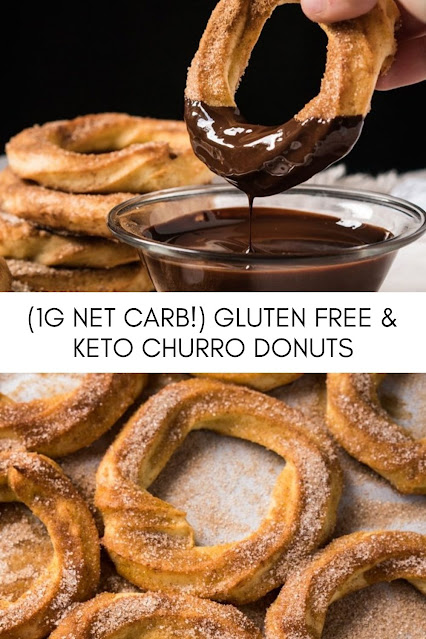 INGREDIENTS FOR THE KETO CHURRO DONUTS 64 g almond flour 28 g coconut flour 1 tablespoon psyllium husk ground 1 teaspoon xanthan gum 240 ml water 57 g grass-fed butter or coconut oil 2 tablespoons allulose erythritol or xylitol* 1/4 teaspoon kosher salt 2 eggs lightly beaten 1 teaspoon vanilla extract 55 g mozzarella for extra crispness, see notes* TO GARNISH grass-fed butter or coconut oil, melted 1/4-1/2 cup allulose or sweetener of choice, to taste 1-2 teaspoons ground cinnamon we use 2 chocolate sauce optional SPECIAL EQUIPMENT pastry bag star tip such as Ateco #824 INSTRUCTIONS See recipe video for guidance!  Preheat oven to 350°F/180°C. Line a baking tray with parchment paper or a baking mat.   Whisk together in a medium bowl almond flour, coconut flour, psyllium husk and xanthan gum. Set aside.   Heat up water, butter, sweetener and salt in medium pot (or Dutch oven) until it just begins to simmer. Lower heat to low and add in flour mixture, mixing constantly to incorporate. Continue to cook and stir until the dough pulls away from the pan and forms into a ball, 1-3 minutes.   Transfer dough back to the bowl and allow to cool for 5 minutes. The dough should still be warm, but not hot enough to scramble the eggs.   Add in one egg at a time, mixing until fully incorporated. The dough will be very stiff, but keep going until fully mixed in. Mix in vanilla extract. The final dough should still be stiff and form into a ball easily, but will also be very elastic. You can use a hand mixer here for a faster approach if you prefer. NOTE: If you want your churro donuts lightly crisp, feel free to mix in a touch of a neutral cheese (think mozzarella, see notes).   Allow the dough to rest until it comes to room temperature (10-15 minutes) and spoon dough into a piping bag with a star tip (say #824 works great). Pipe out rounds onto the prepared baking tray, we made 12 out of a batch.  Bake for 15-20 minutes, until deep golden. Baking times will vary a lot here depending on your oven (convection etc), so check in at minute 10. Brush with melted butter right out of the oven and sprinkle with cinnamon 'sugar'.   Store in an airtight container for 3 days, giving them a quick re-warm before serving again.
