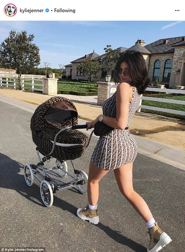 Kylie Jenner takes Stormi for a stroll clad in Fendi