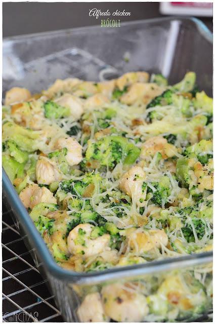 Alfredo chicken brócoli