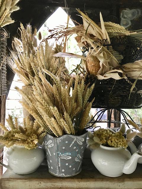 pots et théières remplis de fleurs séchées et d'épis de blé