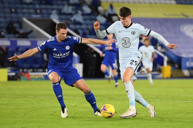 Evans mark Havertz during Chelsea vs Leicester in the Premier League