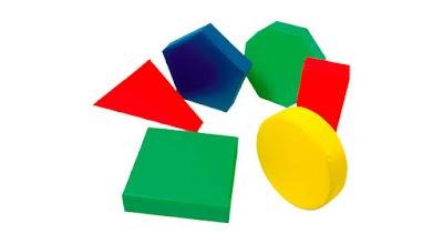 figuras geometricas 6 piezas juego espuma colores azul verde amarillo rojo triangulo cuadrado circulo rectangulo pentagono octogono