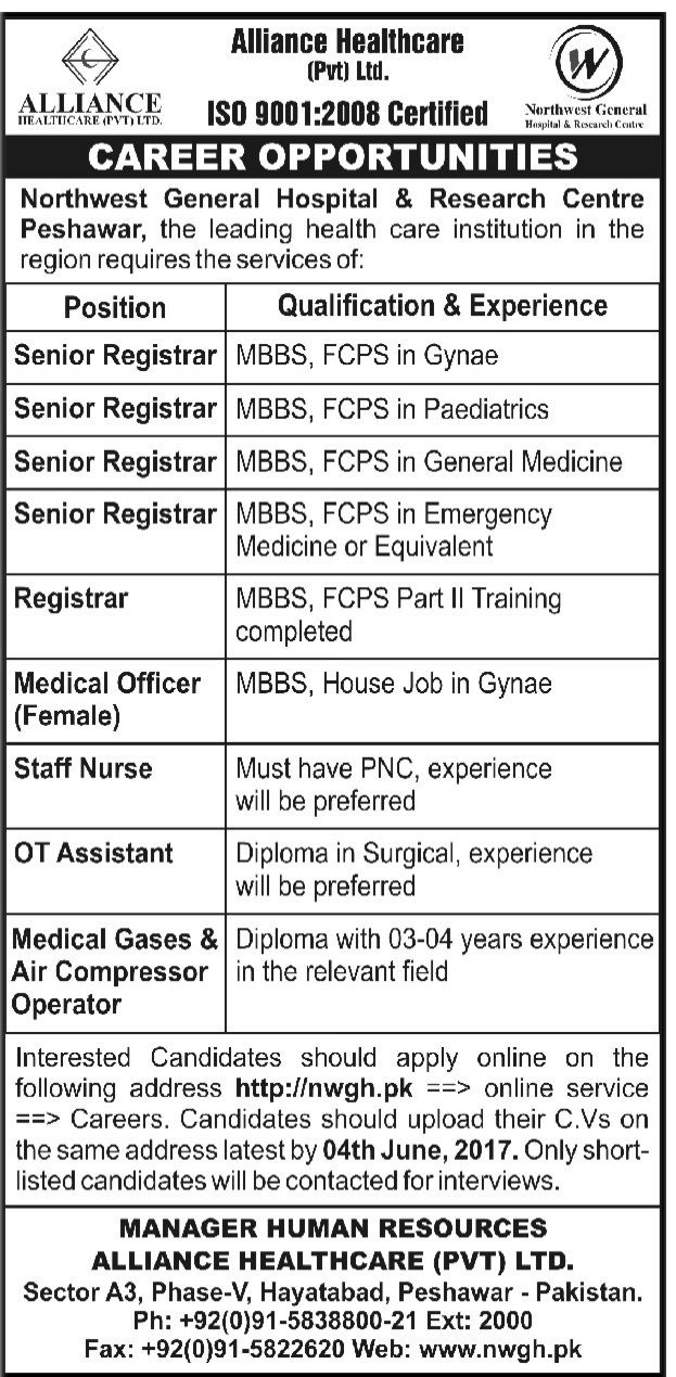 Jobs In Alliance Healthcare Pvt Limited Peshawar 1 June 2017