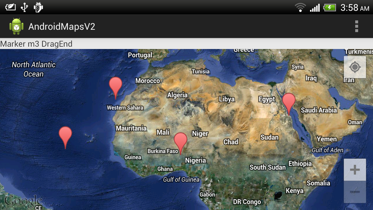 Google Maps Android API v2 example: Draggable Marker | Top
