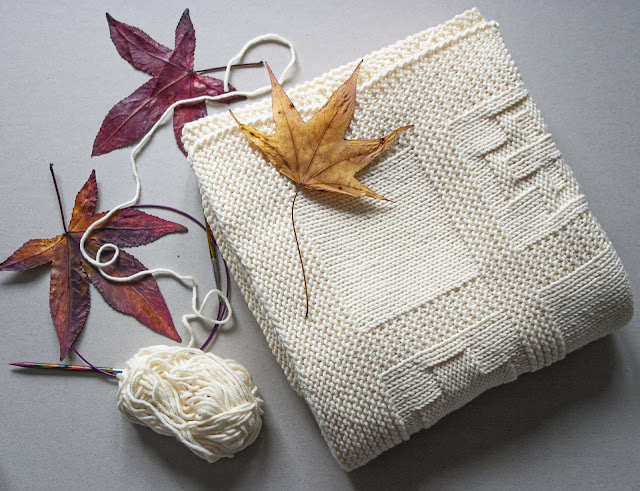 Hand knitted merino wool baby blanket