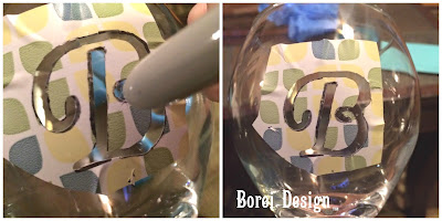 How to adhere homemade etching stencil to glass.