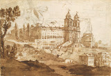 View of the Trinita dei Monti in Rome by Claude Gellee - Architecture, Landscape Drawings from Hermitage Museum
