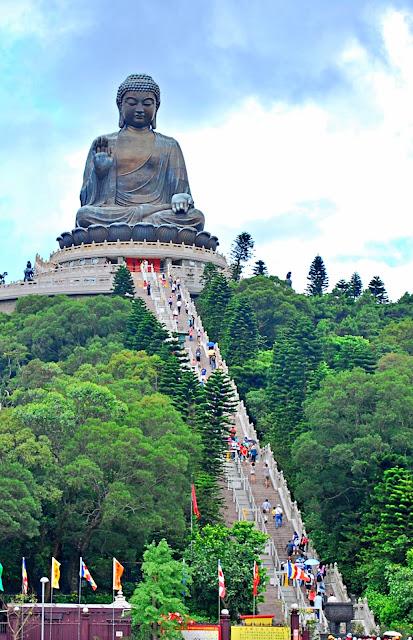 the Tian Tan Buddha Hong Kong from afar