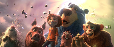 Wonder Park 2019 movie still Greta, Cooper, Steve, Peanut, Boomer, June and Gus in Wonderland