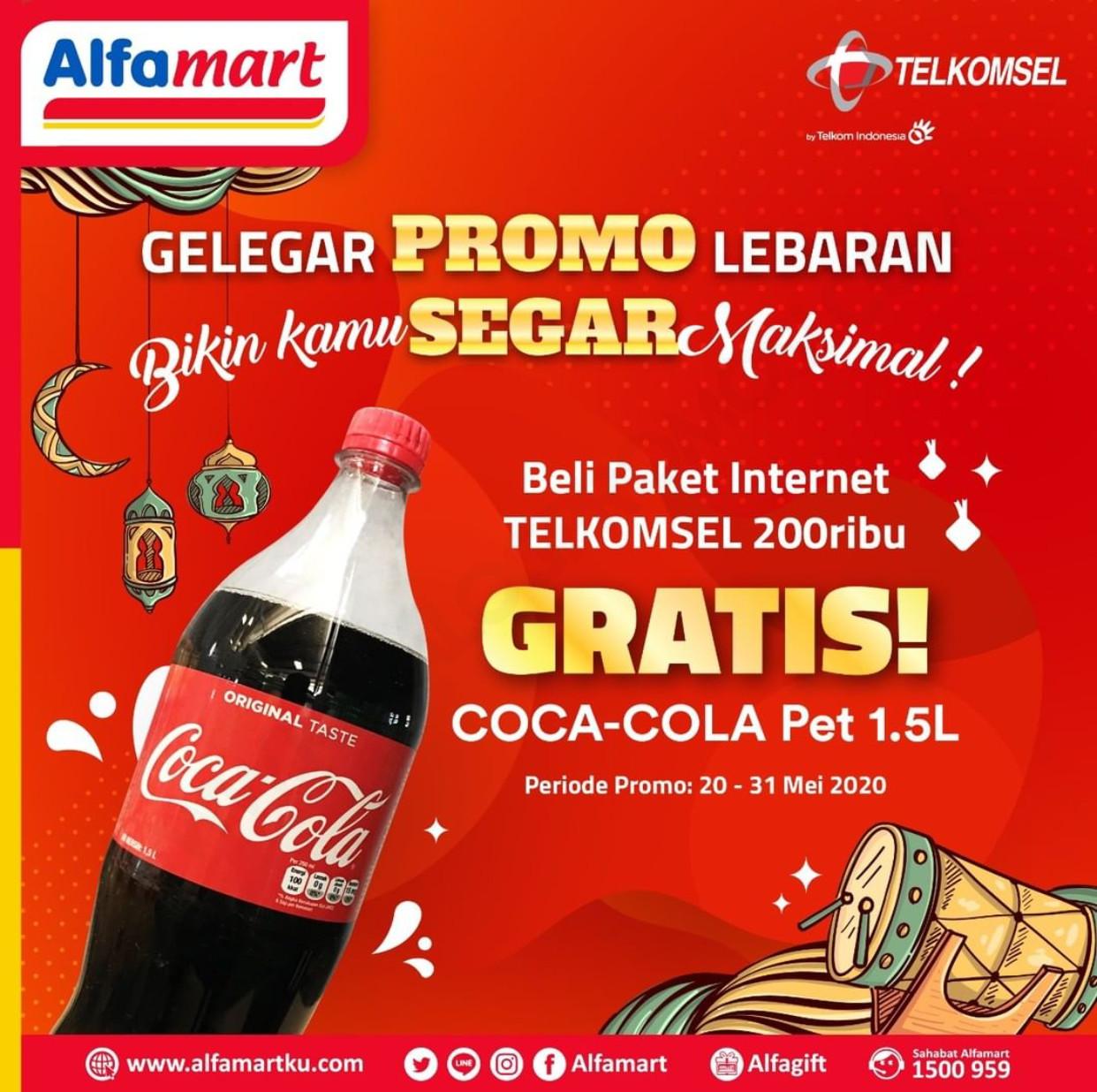 Promo Alfamart Gratis Cocacola Tiap Beli Paket Internet Telkomsel 20 - 31 Mei 2020