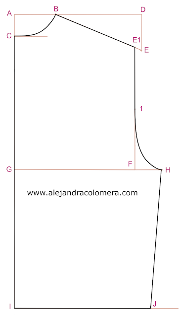 Trazo definitivo sobre estructura inicial del patrón espalda sin pinzas