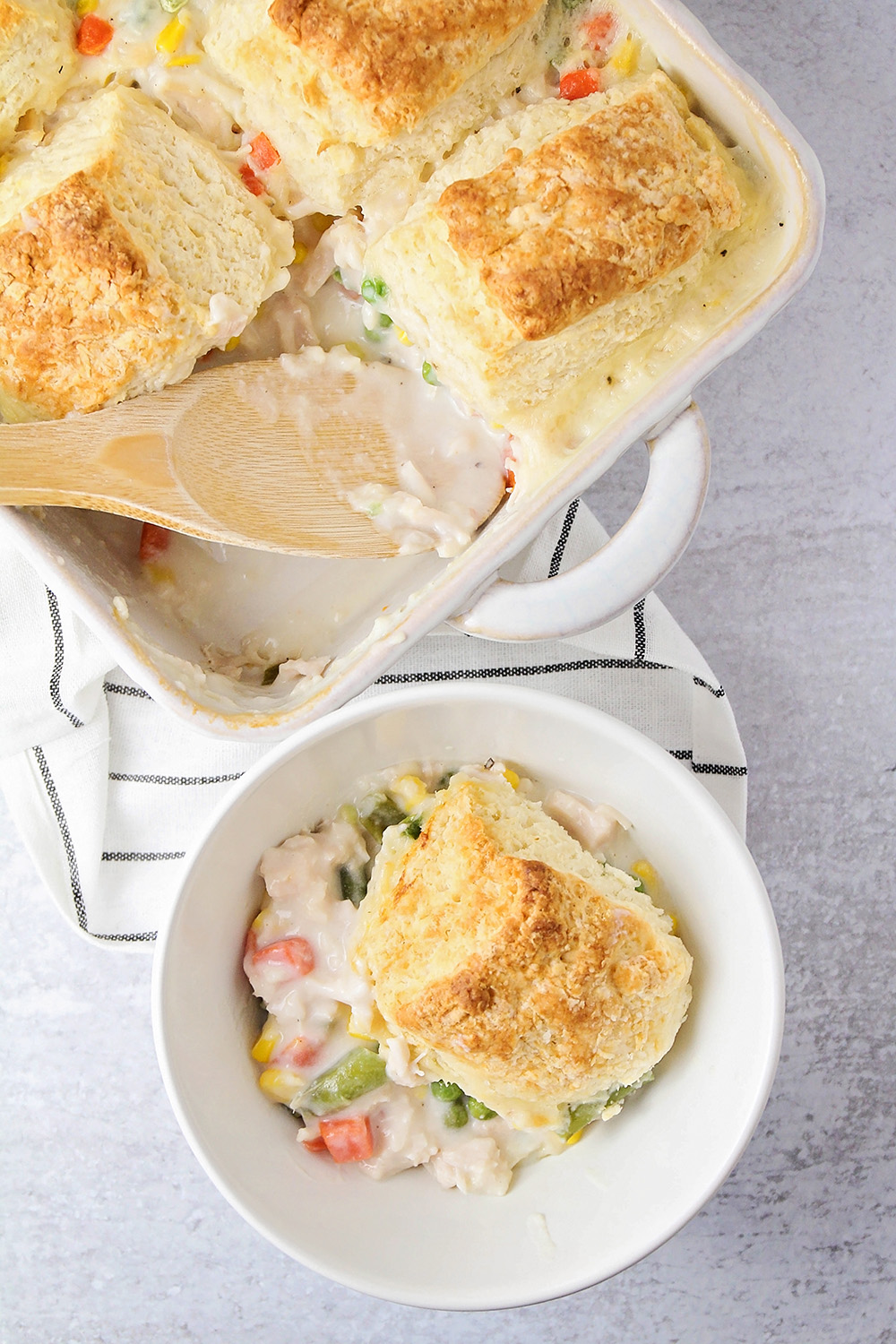 This biscuit pot pie is the epitome of comfort food! It's so delicious, and so easy to make!