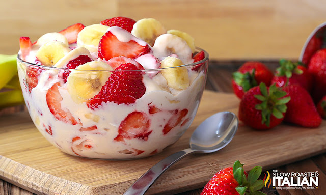 http://www.theslowroasteditalian.com/2016/06/strawberry-banana-cheesecake-salad-recipe.html