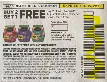 """B2GO FREE Renuzit Adjustables Air Freshener Cones b4g2 Max Value $1.10 Coupon from """"SAVE"""" insert week of 8/22/21."""