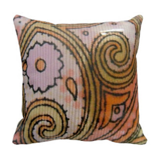Paisley print throw pillow