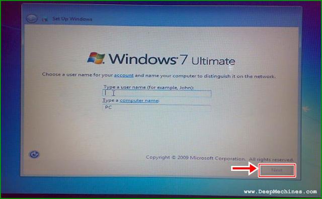 Panduan Instalasi Windows 7 - Mengisi Nama Profil
