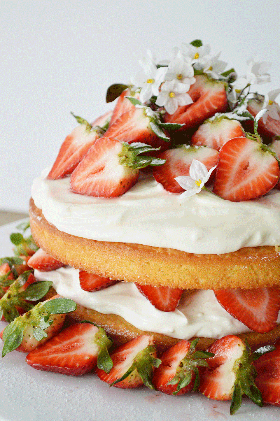 Strawberry Sponge Birthday Cake
