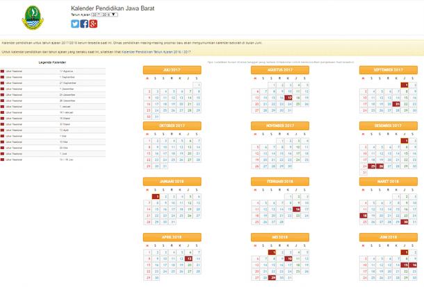 Kalender Pendidikan SD, SMP, SMA, SMK Tahun Ajaran 2017/2018