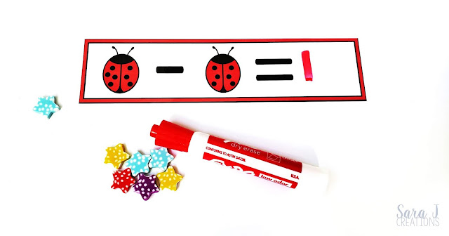 Download your free ladybug subtraction write and wipe cards here. These make the perfect subtraction fact fluency activities that you can use in your math centers right away. Ideal for first grade but could be used as practice in kindergarten or 2nd grade.