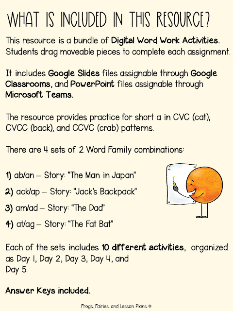 Digital Word Work Activities - CVC, CVCC, and CCVC Words with Short Vowel Sounds