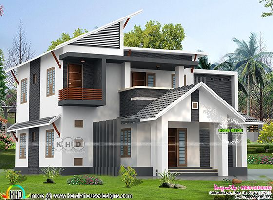 Mixed roof slanting roof 5 bedroom 2400 square feet