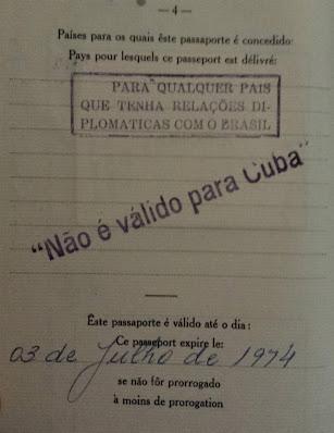 Passaporte para viajar a Cuba