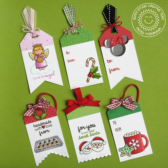 Sunny Studio Stamps: Crescent Tag Toppers Holiday Gift Tags by Mendi Yoshikawa (with Blissful Baking, Little Angels, Holiday Style, Mug Hugs & Christmas Icons stamps)