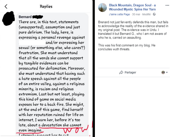 On May 30th, Ramala Akhtar decided, by herself, to repost, on her page, a screen capture with my first comment on her Facebook « blog ». She clearly underlined the warning about the potential devastation on her reputation. Unfortunately, it was just to tell her worshippers and make them believe she was under a serious threat for her sacred mission. Although, on her side, she did not pay any attention to this recommendation, except for her fiction building.